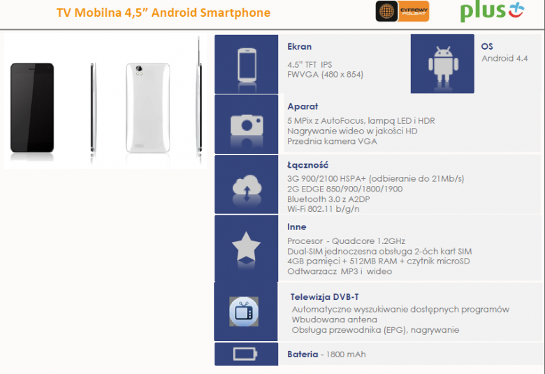 "TV Mobilna 4,5"" Android Smartphone"